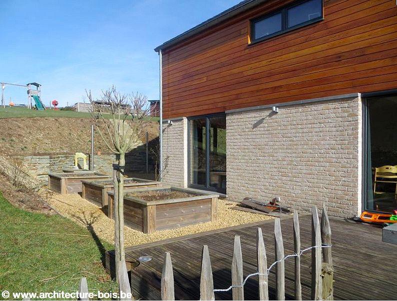 Maison ossature bois parement briques et bois  Architecture & Bois