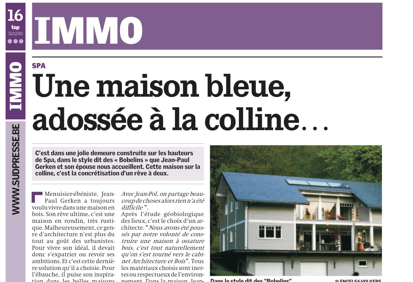 Une maison bleue adoss e la colline architecture bois - Maison bleue adossee a la colline ...