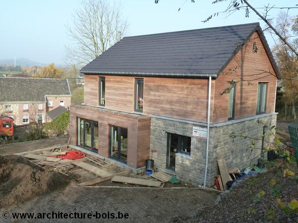 maison familiale en ossature bois 4 chambres bureau architecture bois. Black Bedroom Furniture Sets. Home Design Ideas