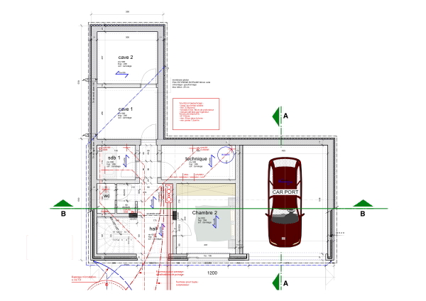 Maison basse nergie brique rouge et bois architecture for Plan maison basse