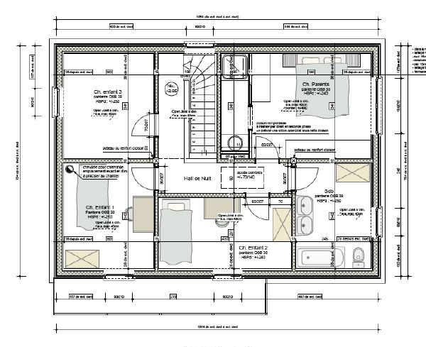 plan de ltage - Plan Maison Etage 4 Chambres 1 Bureau