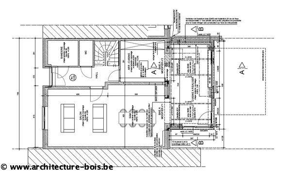 Petite annexe en bois cuisine et coin repas architecture bois - Comment faire une coupe architecture ...